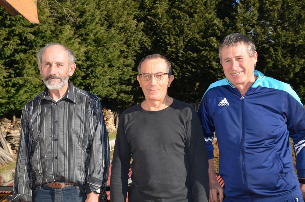 Prêts pour le départ de gauche à droite, Noël Desvernay, Jean Marie Couble et Michel Farjot