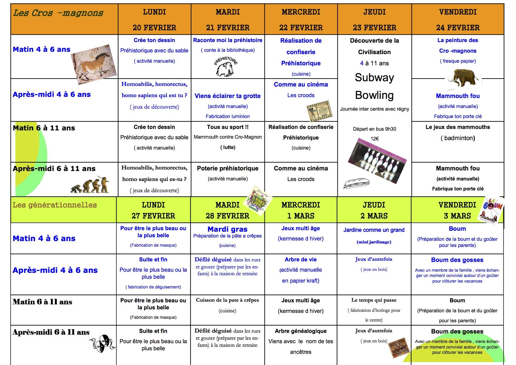 Programme vacances février les Enchanteurs verso