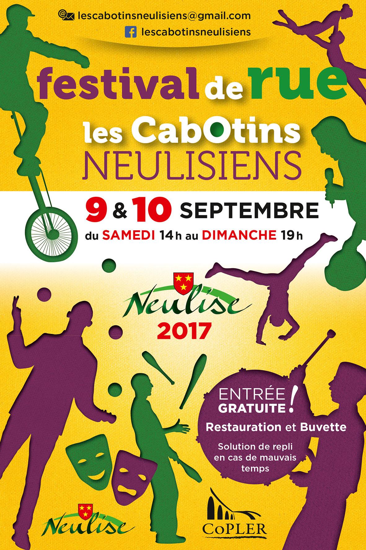 Flyer recto Festival de rue les Cabotins Neulisiens