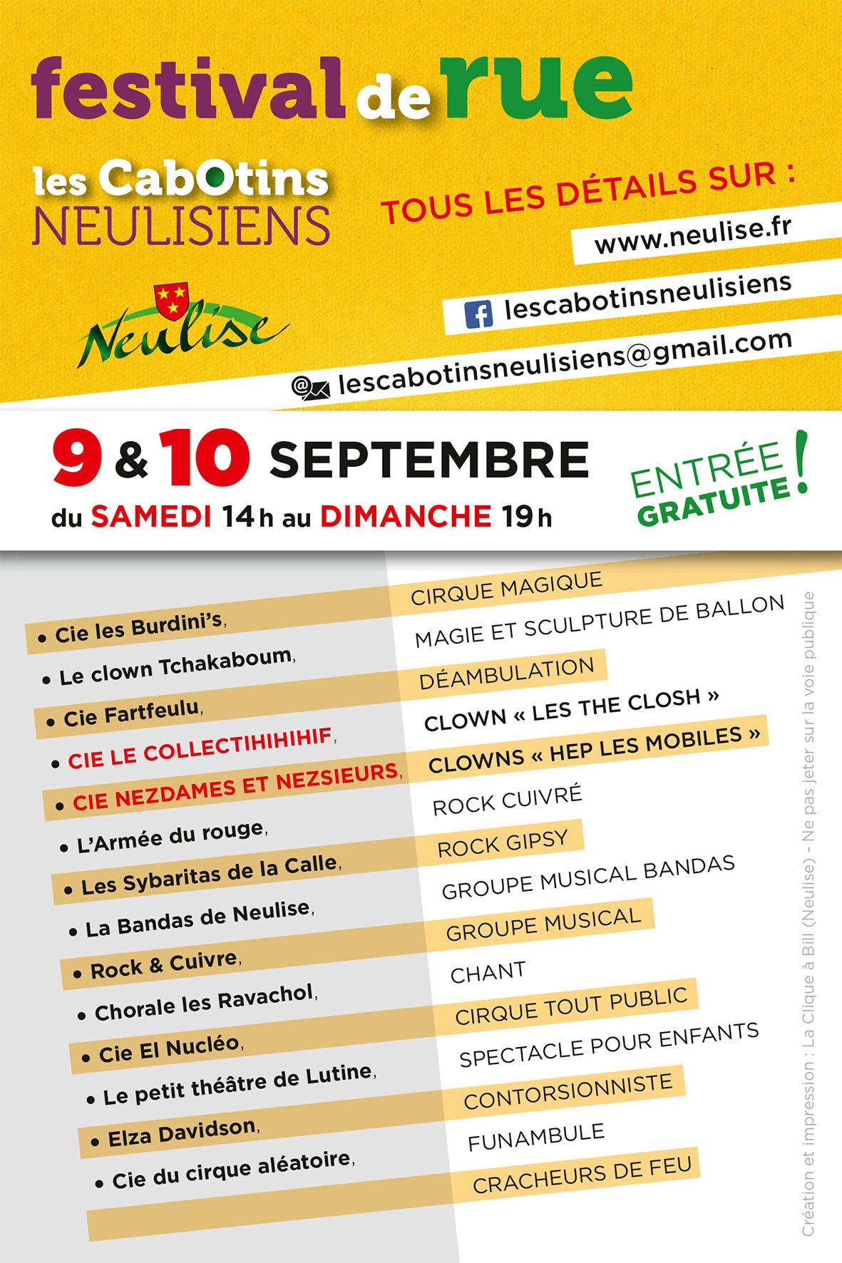 Flyer verso Festival de rue les Cabotins Neulisiens