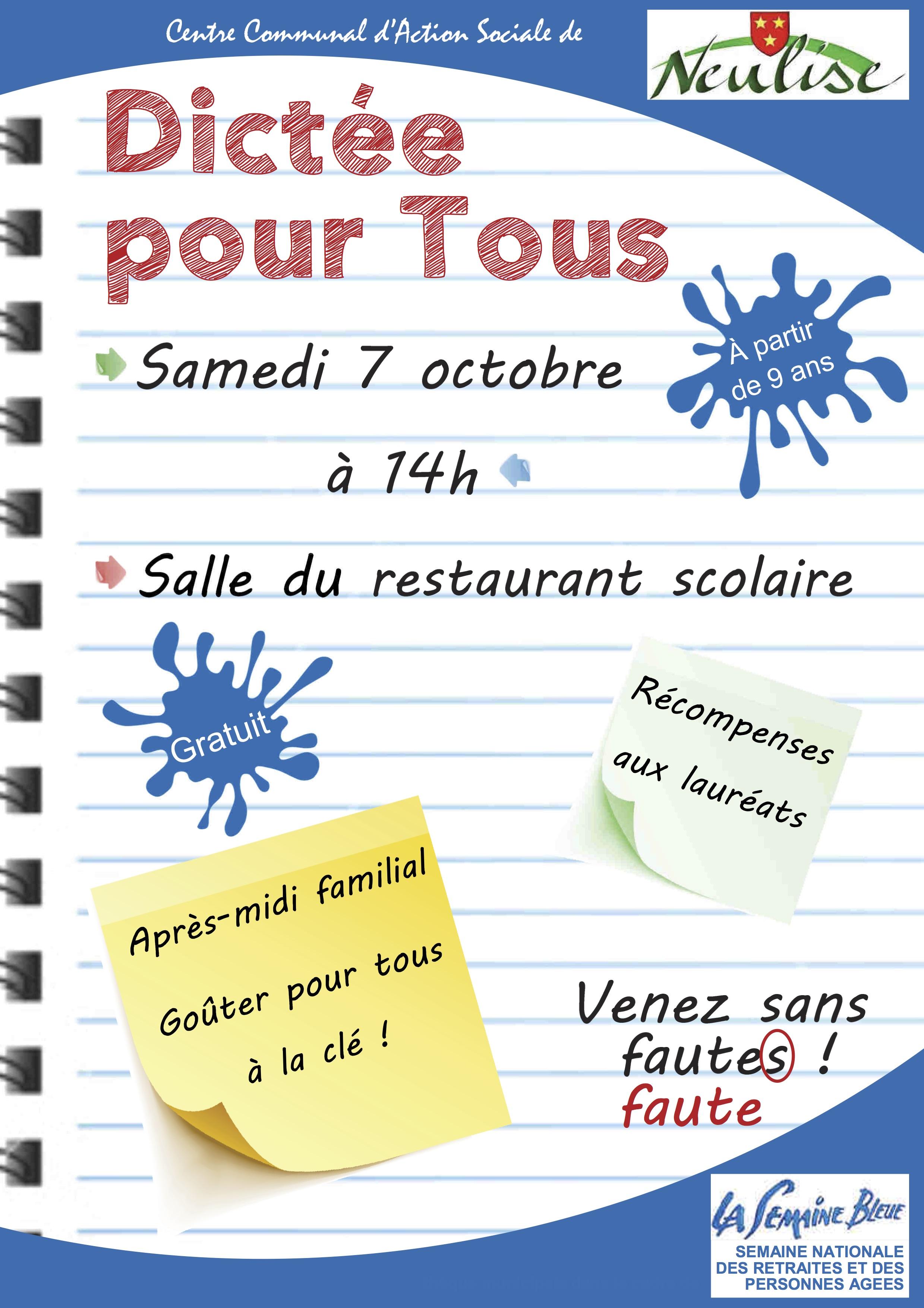 Dictée pour tous à Neulise le 7 octobre