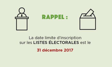 Date limite d'inscription sur les listes électorales