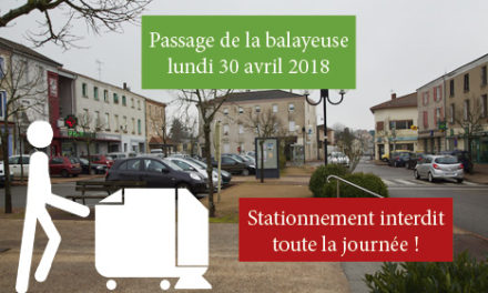 Passage de la balayeuse lundi 30 avril