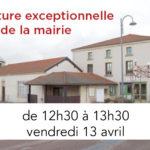 Fermeture exceptionnelle de la mairie de 12h30 à 13h30 vendredi 13