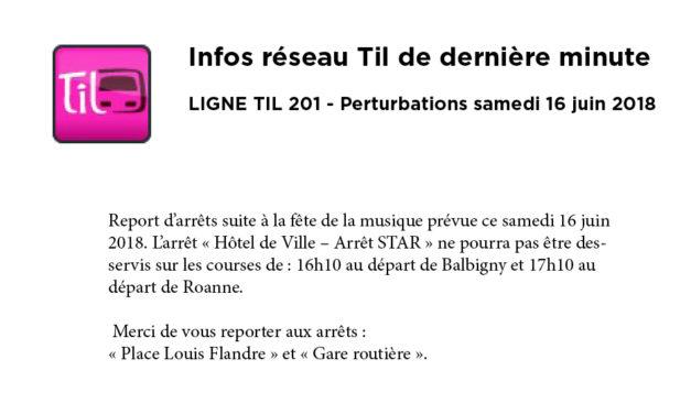 Infos TIL dernière mn pour le 16 juin