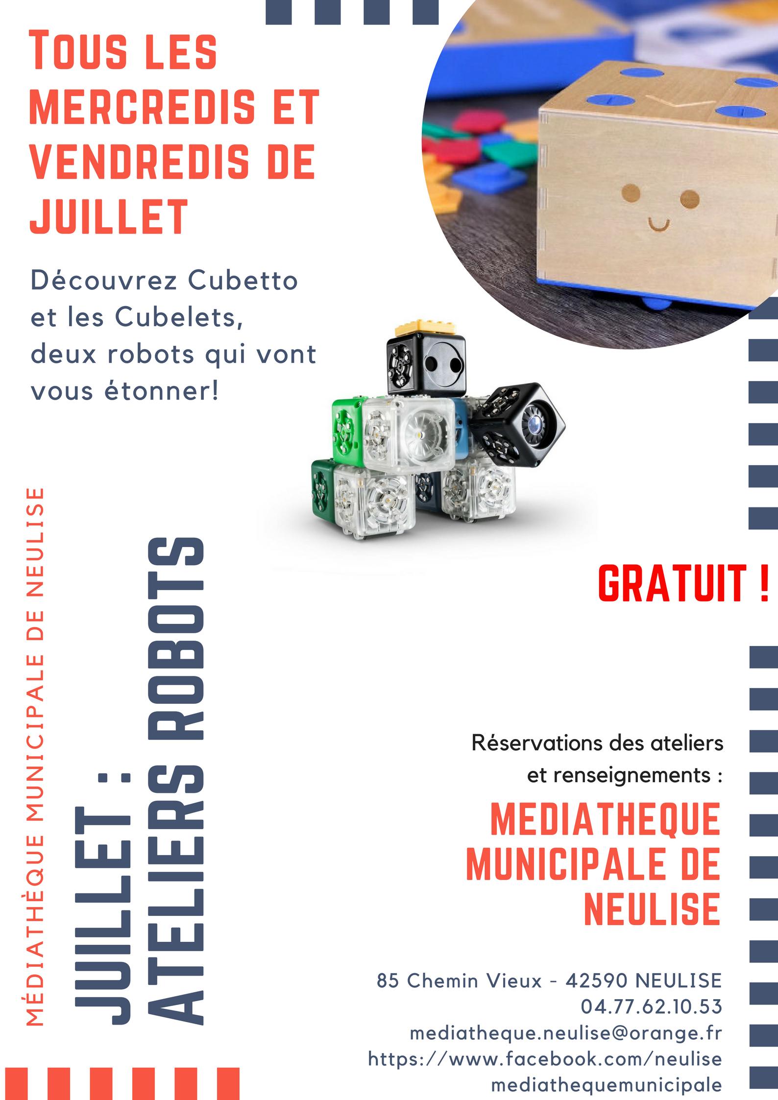 Ateliers robots les mercredis et vendredis de juillet