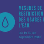 Restriction de l'usage de l'eau au 19 septembre 2018