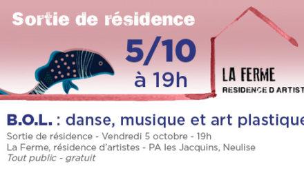 Invitation à la sortie de résidence vendredi 5 octobre