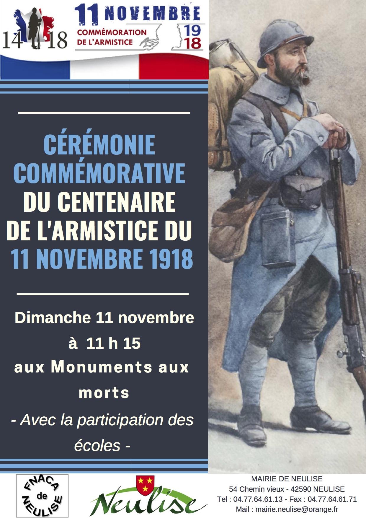 Affiche cérémonie centenaire du 11 novembre à Neulise