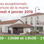 Modification des horaires de la mairie le 04/01/19