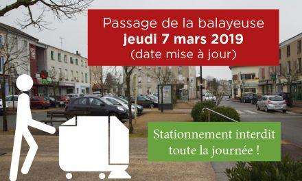 Passage de la balayeuse jeudi 7 mars