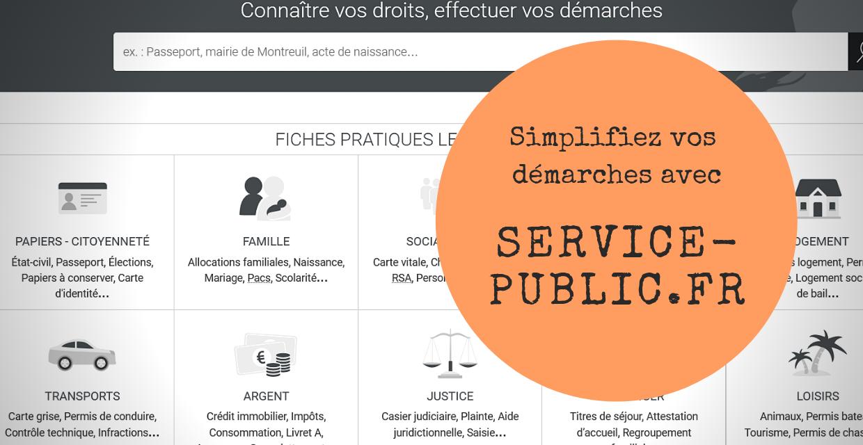 Vos démarches simplifiées grâce à service-public.fr