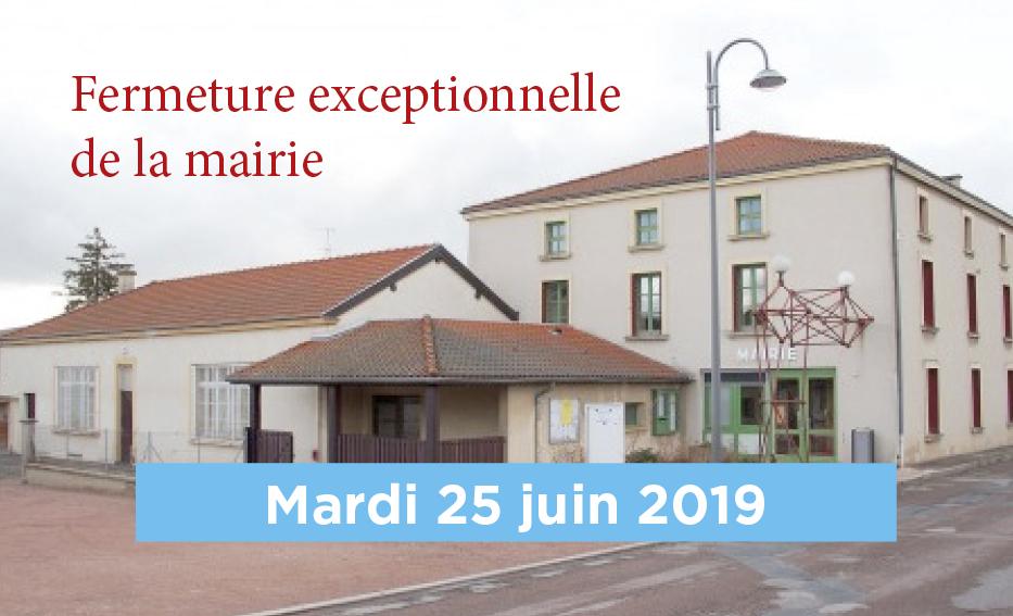 La Mairie sera fermée le mardi 25 juin