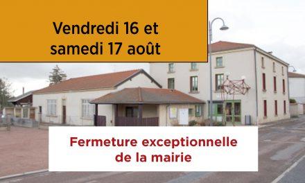 Fermeture exceptionnelle de la mairie les 16 et 17 août