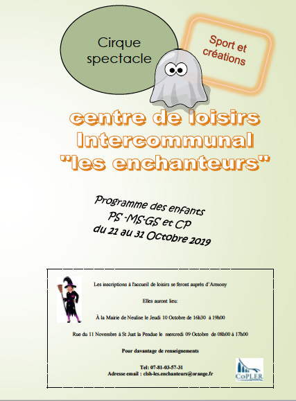 Programme Les Enchanteurs vacances d'octobre 2019 des PS au CP