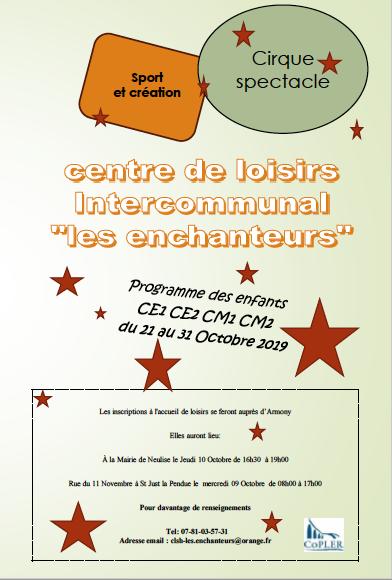 Programme Les Enchanteurs vacances d'octobre 2019 des CE1 au CM2