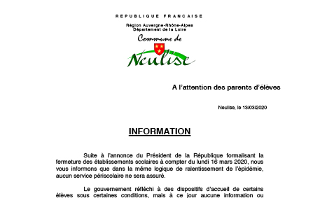 Information à l'attention des parents d'élèves