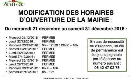 Modifications horaires de la mairie jusqu'au 31/12