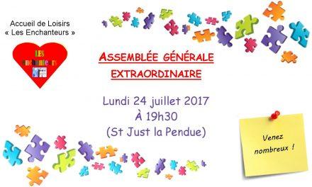 Convocation à la prochaine AG du club de loisirs des Enchanteurs