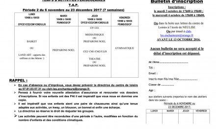 Programme des TAP pour novembre décembre