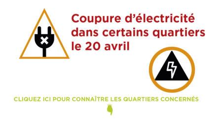 Coupure d'électricité le 20 avril