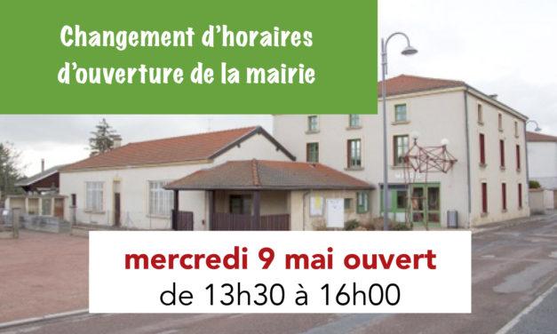 Ouverture de la mairie de 13h30 à 16h le 9 mai