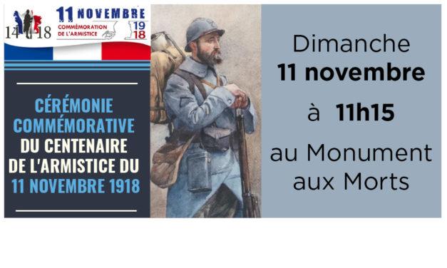 Cérémonie du centenaire de l'armistice du 11 novembre