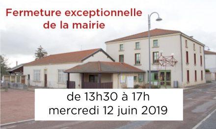 Fermeture exceptionnelle mercredi 12 de 13h30 à 17h
