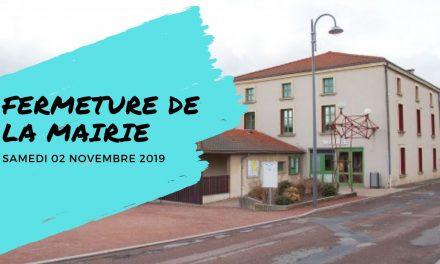 Fermeture de la mairie le 02/11/2019