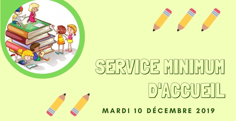 École publique – Service minimum d'accueil 10 décembre 2019