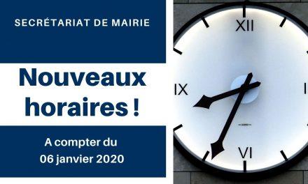 Nouvelle année, nouveaux horaires d'ouverture pour la mairie !