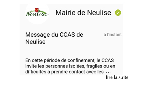 Message du CCAS de Neulise