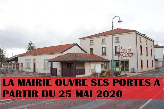 Réouverture de la mairie à partir du 25/05/2020